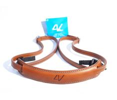Image of 4V Design Lusso Slim Neck Strap Tuscany Leather Brown/Cyan