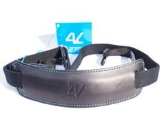 Image of 4V Design Lusso Large Neck Strap Tuscany Leather Black/Cyan
